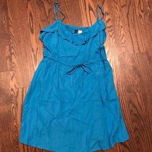 H&M blue casual ruffle dress